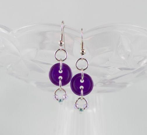 Deep purple drop button earrings girl teen Christmas gift party