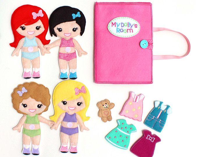 Vilt aankleden pop, pop, aankleden kleden omhoog, niet Paper Doll, vilt, Pretend Play reisspeeltje, poppenhuis, reizen Dollhouse, drukke boek, reizen