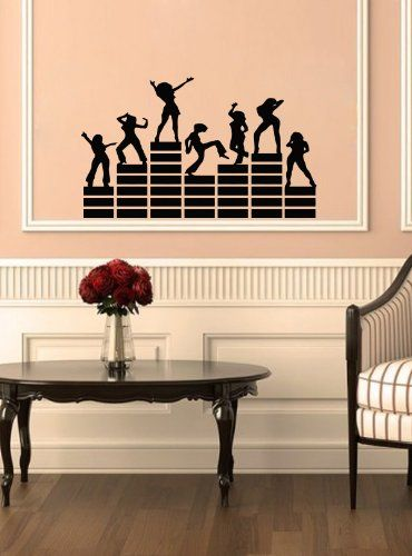 Housewares Vinyl Decal Disco People On Music Equalizer Night Club DJ Decor  Home Wall Art Decor Part 94