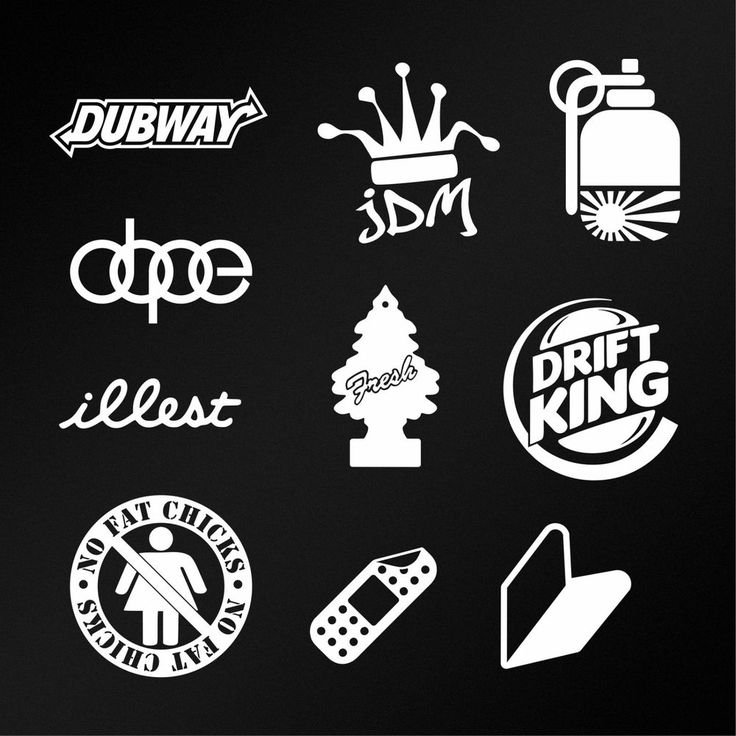 JDM Sticker Pack 10 White Car Body Window Bumper Vinyl Die Cut Decals Vol. 01 #Oracal