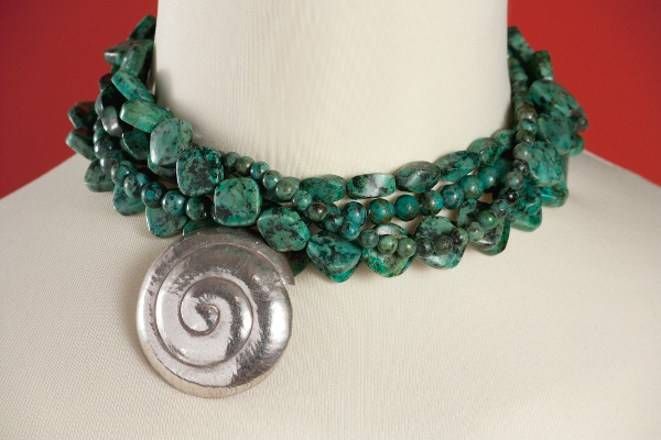 """""""Silver Shell"""", African Turquoise & Silver necklace."""