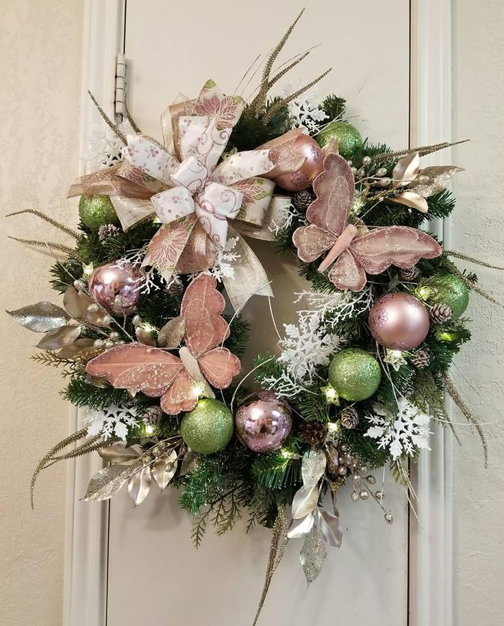 Victorian Christmas Wreath, Rose/Pink Wreath,Evergreen,Christmas Wreath,Christmas Decor,Rose Gold Decor,Christmas Decor,Christmas Door Decor by SouthTXCreations on Etsy