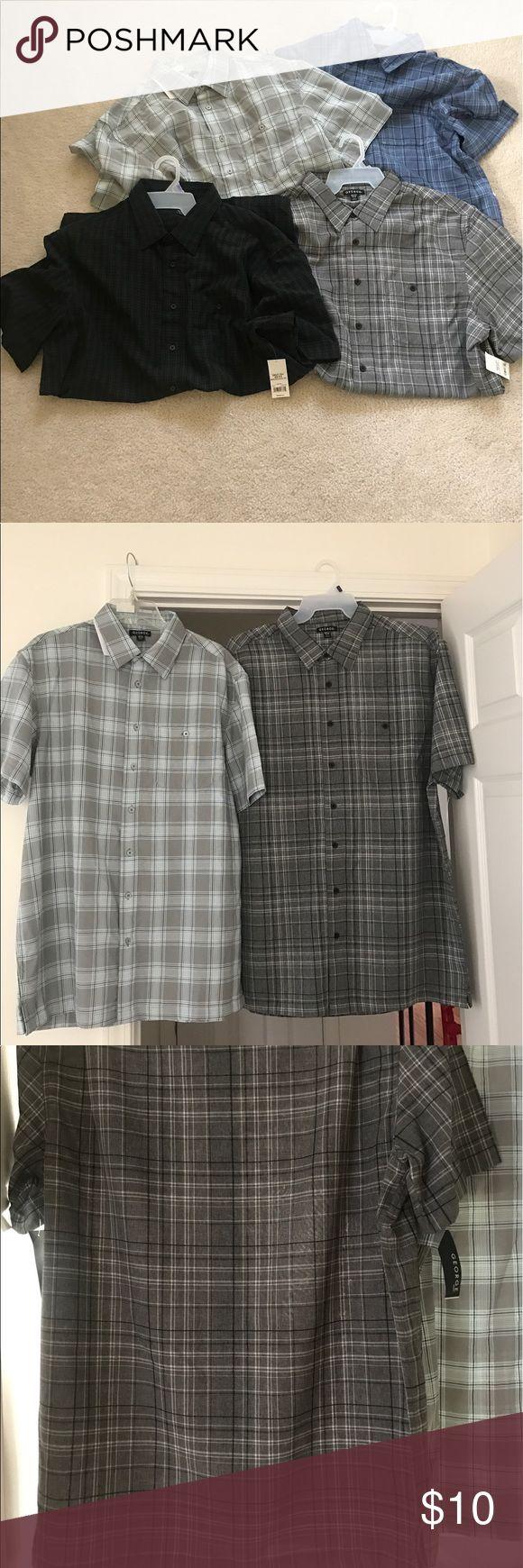 (4) LT Big and tall men short sleeve dress shirts Brand new men's big and tall short sleeve dress shirts, runs a little small.(1) blue and black,(1) gray, black and teal (1) charcoal (1)black and gray. George Shirts Casual Button Down Shirts