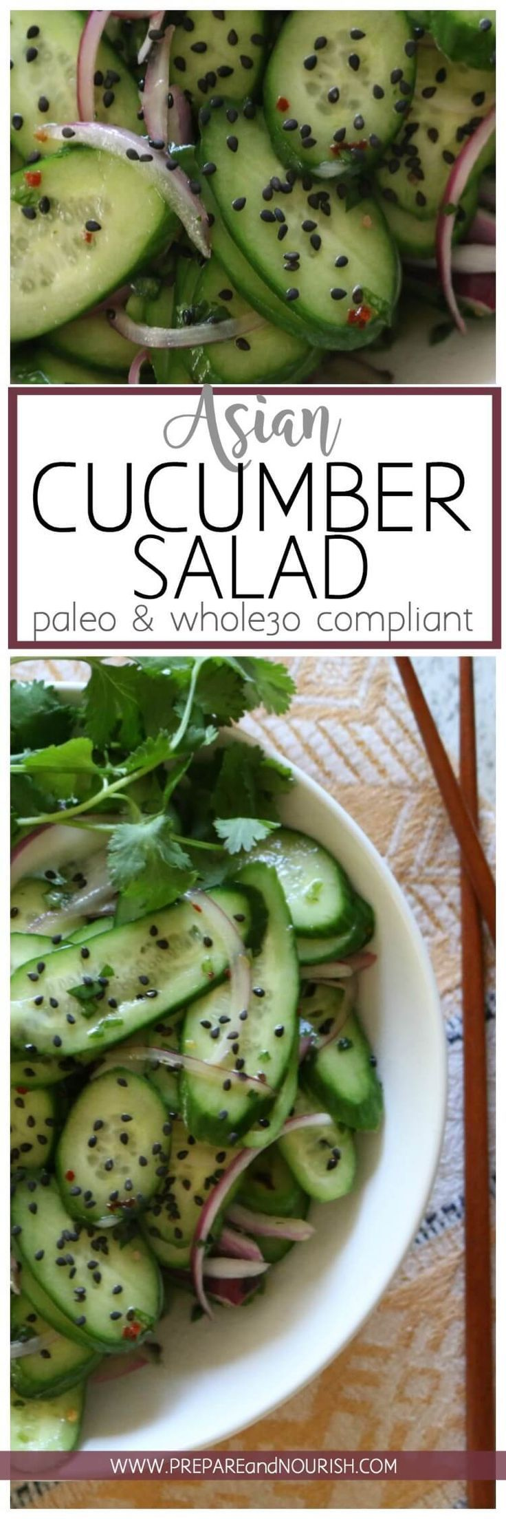 Asian Cucumber Salad - Thinly sliced cucumbers and red onions tossed with a white wine vinaigrette dressing makes a light and refreshing salad. Top with rich black sesame seeds for major flavor action.  Paleo & Whole 30 Compliant.  via @preparenourish