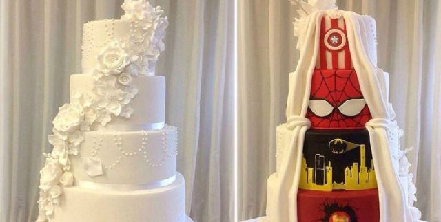 True love is about reaching a compromise on your superhero wedding cake