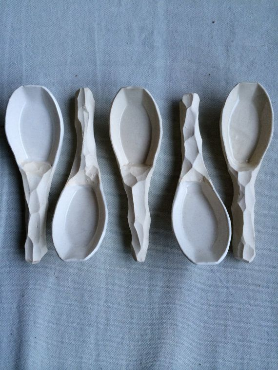 Porcelain spoon ceramic spoon carved asian soup by FMCeramics