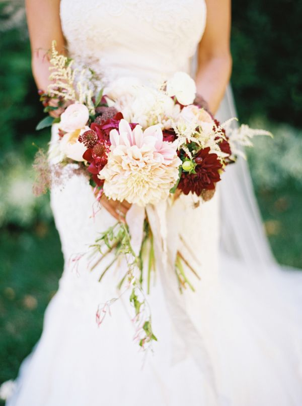 Ivory and Burgundy Dahlia Bouquet by La Fete | photography by http://jacquelynnphoto.com/