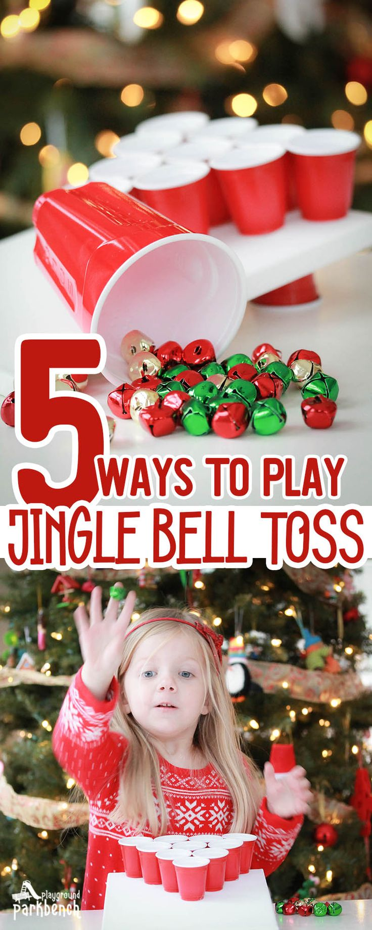 This simple holiday party game is a hit for kids and adults alike - all you need to play jingle bell toss is bells, red cups and some enthusiasm for fun!