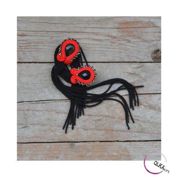 Very long tassel earrings  black and red elegant by QlkaArt