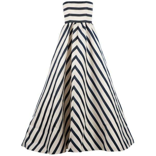 OSCAR DE LA RENTA striped evening dress ($7,912) found on Polyvore