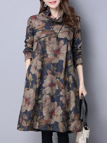 Women Vintage Floral Printed Turtleneck Long Sleeve Dresses