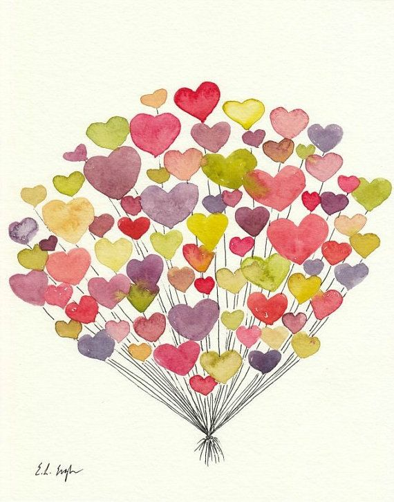 Pink, Lime, Coral, Purple Heart Balloons, Original Watercolor Painting, 8x10, valentines, hearts illustration