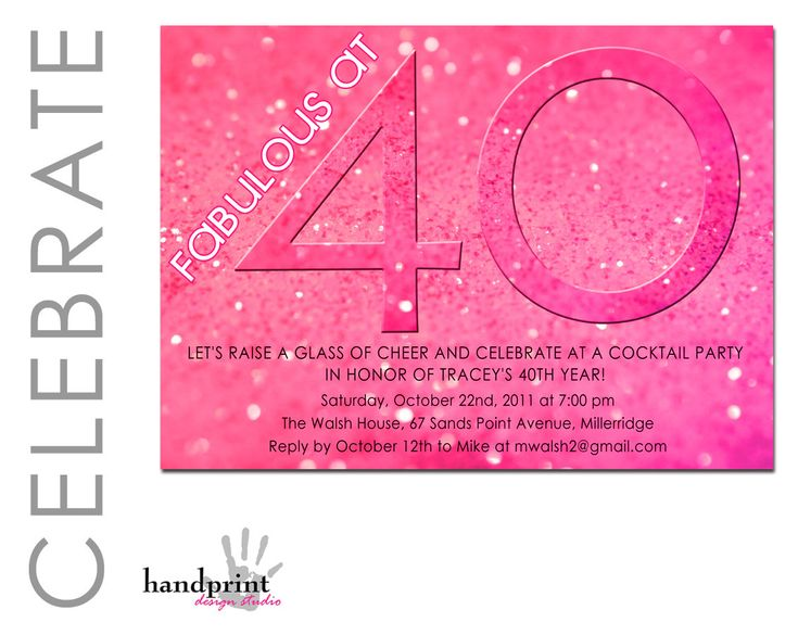 25 best Invitations images on Pinterest 40th birthday parties - birthday invite words