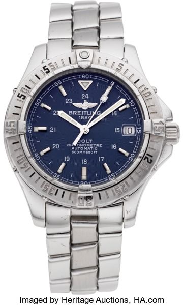 LIMITED AVAILABILITY!! Breitling 1884 Colt Chronometre Automatic. ... Breitling 1884 Colt Chronometre Automatic Case: stainless steel, three body, rotating bezel, screw back, screw down crown, 38 mm, No. 473444 Dial: blue, engine turned, date at three, steel bar markers, luminous dots, white minute track, luminous steel batons Movement: rhodium finish, automatic, caliber 2824-2, chronometer, monometallic balance, shock absorber, rotor on ball bearings Band: steel, polished