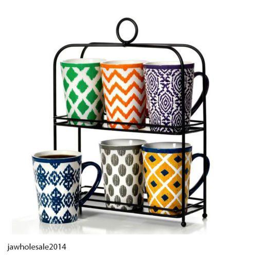6 Piece Stoneware Coffee Tea Drink Mug Set With Stand 16