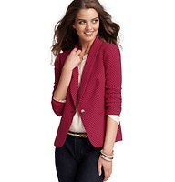 """Dot Print Drapey Crepe Blazer - Crafted in our elegantly smooth crepe fabric, this style flaunts a fetching dot print - and pleated back hem - for polished charm. Shawl collar. Long sleeves. Single tortoiseshell button closure. Welt pockets. Lined. 23"""" long."""