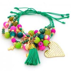 Pulsera Verde Esperanza Compra tus accesorios desde la comodidad de tu casa u oficina en www.dulceencanto.com #accesorios #accessories #aretes #earrings #collares #necklaces #pulseras #bracelets #bolsos #bags #bisuteria #jewelry #medellin #colombia #moda #fashion