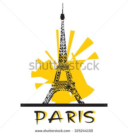 Paris. Eiffel Tower. Vector image.  Stylised illustration.
