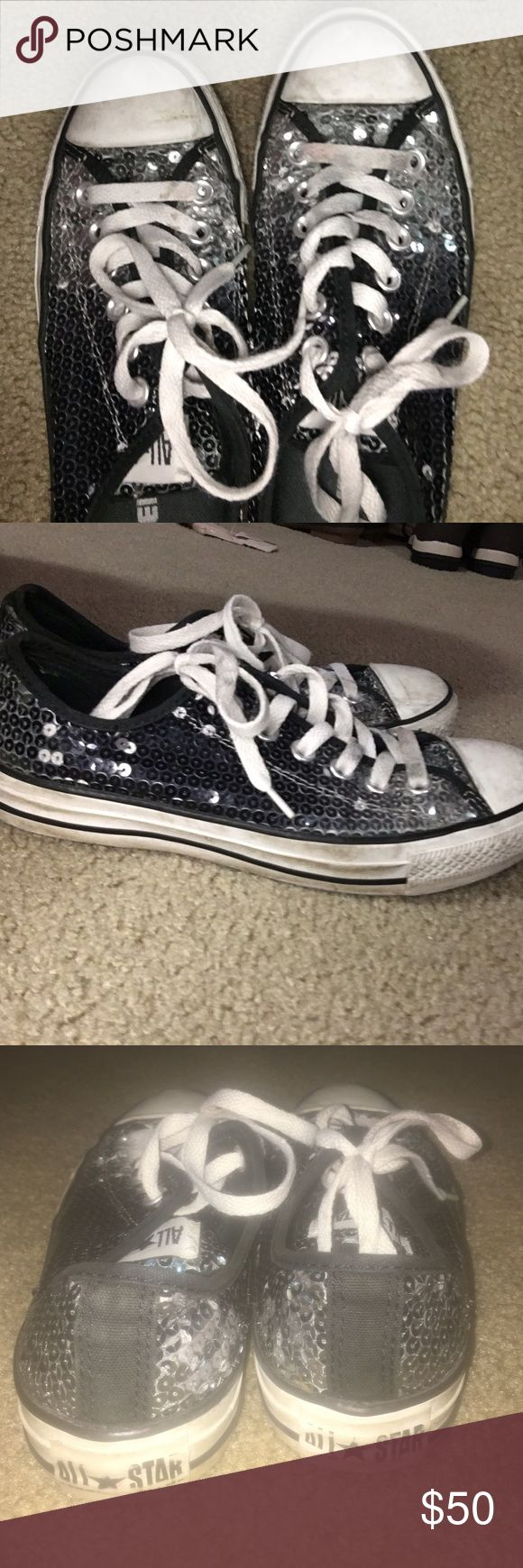 Black and silver Glitter converse Worn Converse Shoes Sneakers