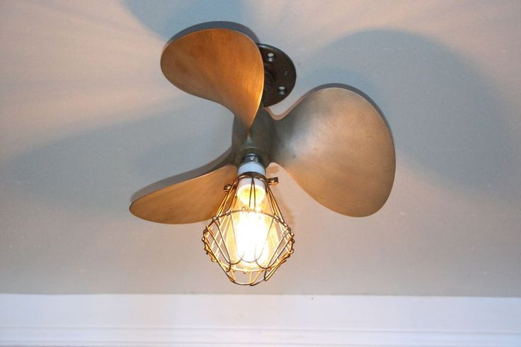 "Brass bronze boat Propeller Ceiling Light 16"" marine nautical vintage man cave"