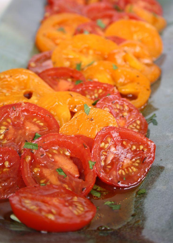 Marinated tomato salad with garlicky paprika vinaigrette | Crosby's Molasses