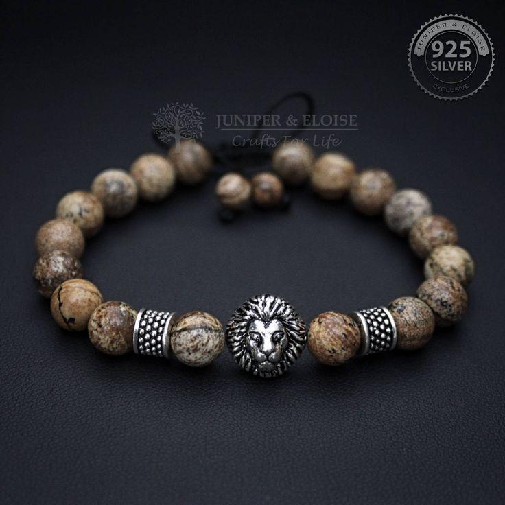 Lion Bracelet, Men's Bracelet, 925 Silver Lion, Jewelry For Men and Women, Unisex Bracelet, Valentines Day Gift, Armband, Karkötő by JuniperandEloise on Etsy
