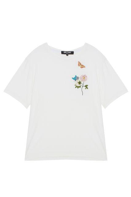 Футболка с вышивкой Sorry, i'm Not - Лаконичная свободная футболка из коллекции российского бренда Sorry, I'm Not в интернет-магазине модной дизайнерской и брендовой одежды