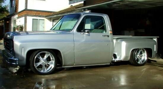 """""""Silver Bullet"""", 1975 C10 Chevy Stepside."""