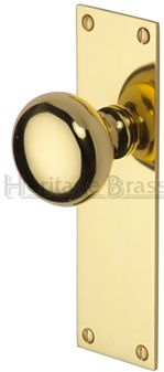Heritage Brass 'Balmoral' Low Profile Door Knobs On Backplate, Polished Brass - BAL8500-PB (sold in pairs) None