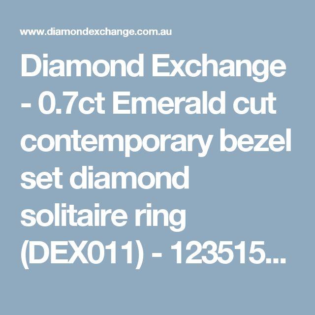 Diamond Exchange - 0.7ct Emerald cut contemporary bezel set diamond solitaire ring (DEX011) - 1235156898