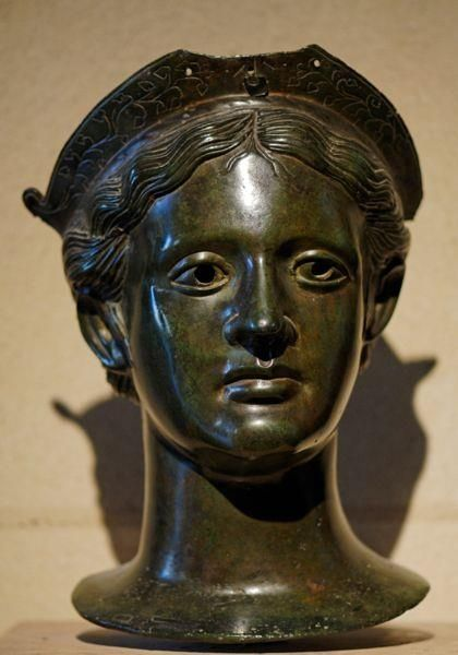 Head of a female divinity, Etruscan bronze, 2nd Century BCE