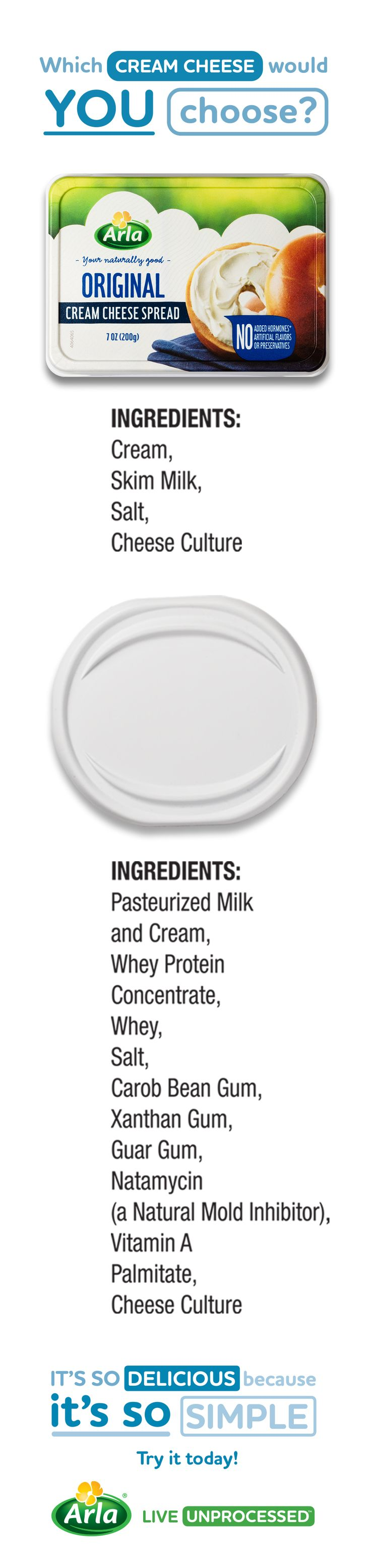 Arla Original cream cheese is so delicious because it's so simple. Don't buy it? You don't have to! Try Arla FREE for a limited time in a participating retailer near you with a coupon linked here.