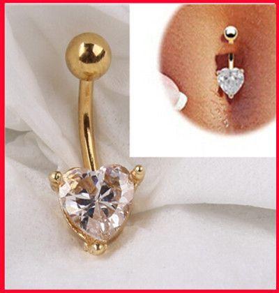 Любовь JE мода 18 К белый желтый позолоченные сексуальная пупок кольцо в форме сердца любовь кнопку пирсинг для женщин