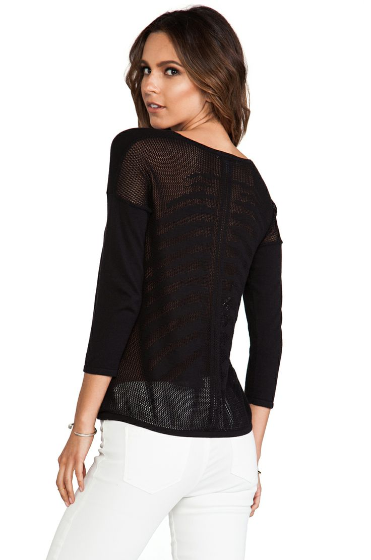 Autumn Cashmere Womens Mesh Skeleton Back Top Black - Sweaters