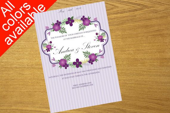 Wedding invitation design floral printable by WeddingTemplatesHub