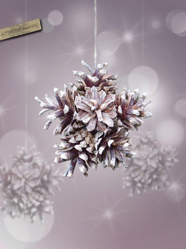 Pine cones snowflake Ornament nature and original decor for Christmas tree. $8.00, via Etsy.