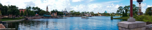 a panorama of EPCOT's World Showcase with many of the pavilions in the picture. you can also see the Friendship boats that goes across the World Showcase Lagoon. The is also the lake where the IllumiNations: Reflection of earth is shown.