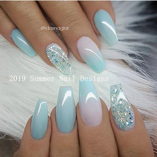 33 Cute Summer Nail Design Ideas 2019 2019nails Wow Nails Glitter Accent Nails Latest Nail Designs