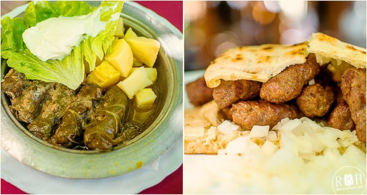"""""""As for the food. There's meat present in each dish in Bosnian cuisine. We ordered Japrak (to the left) – local cabbage rolls served with potatoes. The most popular dish is ćevapi. These are sausages with minced meat served in pita bread with fresh onions. Prices are on average 3 euro per meal."""""""