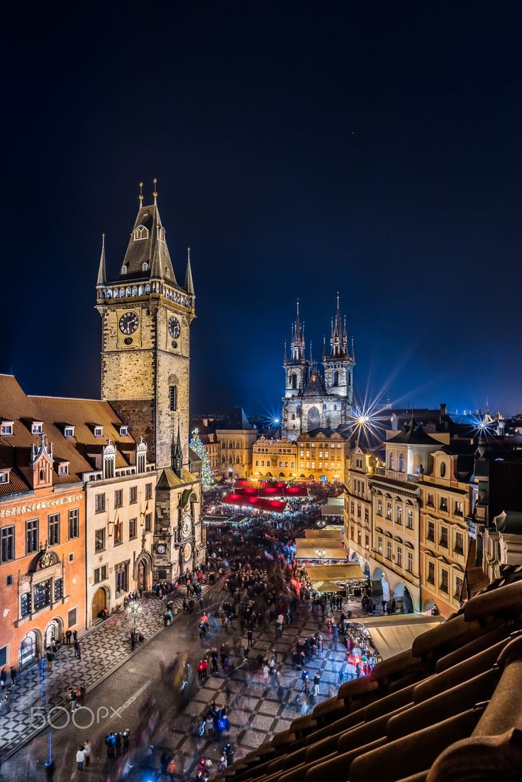 Christmas market in Prague II - Vertical version of the rooftop view of Christmas market on Old town square in Prague.