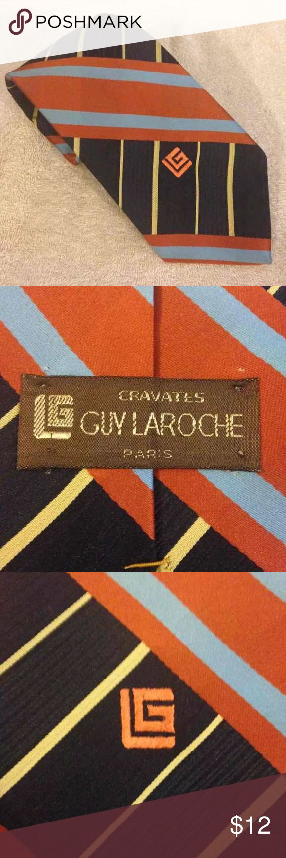 Guy Laroche Navy & Orange Plaid Tie Guy Laroche Navy, Orange, Blue and Yellow Plaid Necktie! Like new! Please make reasonable offers and bundle! Guy Laroche Accessories Ties
