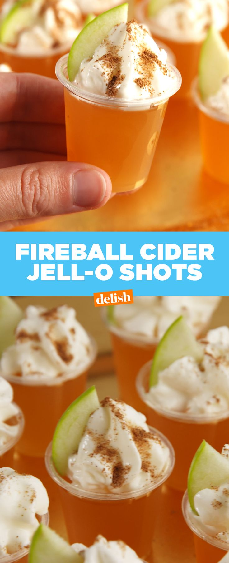 Fireball Cider Jell-O Shots are going to be your favorite way to booze up this fall. Get the recipe at Delish.com.