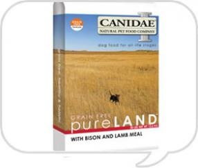 Canidae's Pure Land grain free formula contains fresh Bison meat (a unique lean, meat protein source for sensitive pets), lamb meal, vegetables and fruits with 0% grain. Dogs love the taste!  It's also suitable for all life stages.