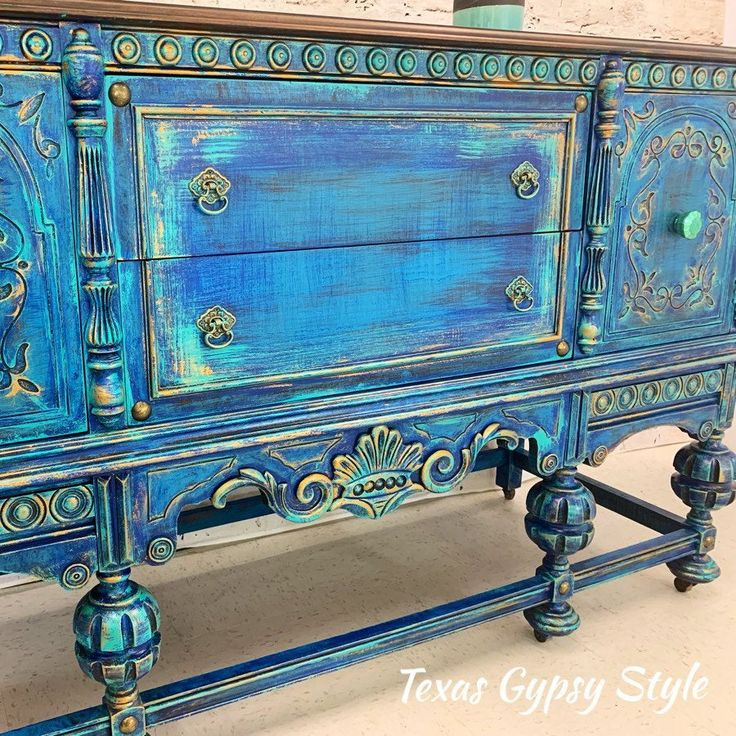 AVAILABLE! Boho Azul Jacobean Buffet, Sideboard, TV Console, Credenza, Dresser, Entryway, Furniture, Coffee Bar