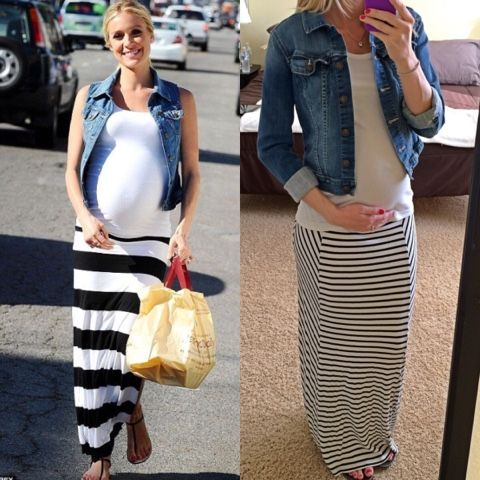 Thrifty Wife, Happy Life: Kristin Cavallari maternity looks for less, Striped maxi skirt with denim jacket