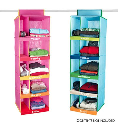 Days of the week clothes organizer. Even has a place for shoes!