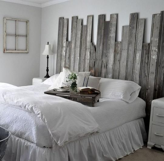 Gorgeous and rustic reclaimed wooden headboard!