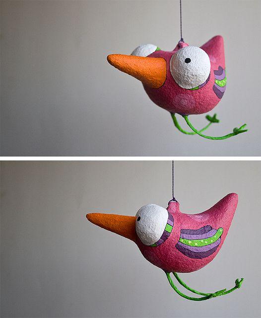 Pájaro en Papel Maché