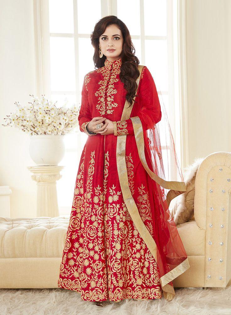 Dia Mirza In Semi Stitched Red Achkan Style Salwar kameez #Georgette #Achkan #Style #Salwar #nikvik #usa #australia #wedding #canada #nikvik #usa #designer #australia #canada #stylish  #FreeShipping #DiaMirza  Price-US$97.30