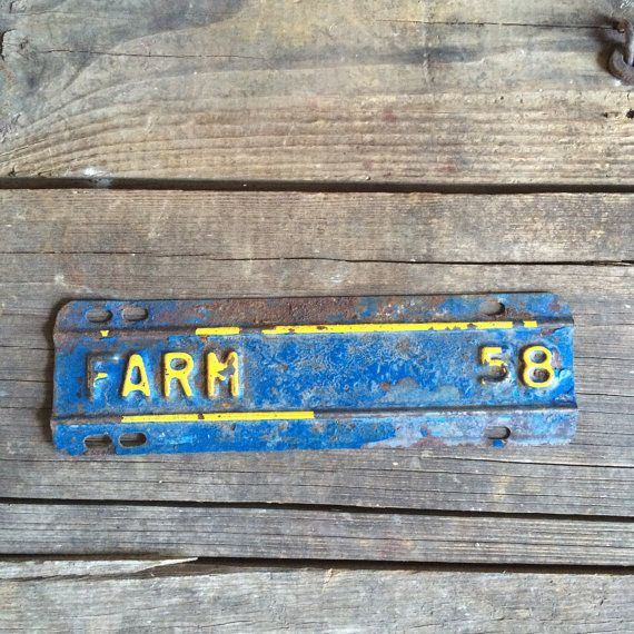 Rusty Vintage Metal Sign Farm Tag Blue & Yellow